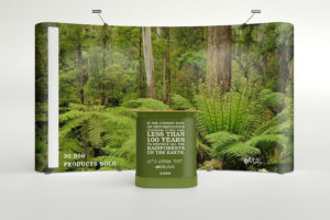 Sara Barats trade show booth showing replanted forest brought back to its prime