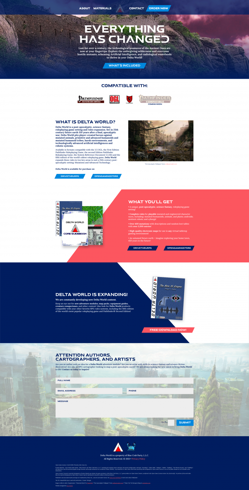 Delta World Tabletop Roleplaying Game Responsive Website
